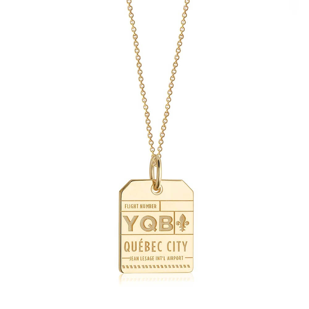Gold Canada Charm, YQB Quebec City Luggage Tag - JET SET CANDY
