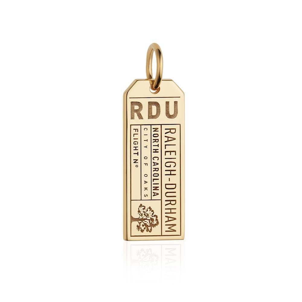 Gold Raleigh-Durham, North Carolina RDU Luggage Tag Charm - JET SET CANDY