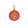Large Gold Red Enamel Compass Charm - JET SET CANDY
