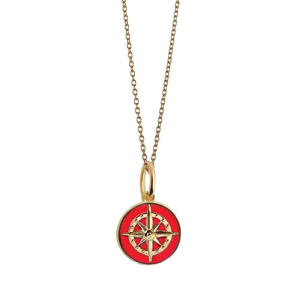 Gold Mini Red Enamel Compass Charm - JET SET CANDY