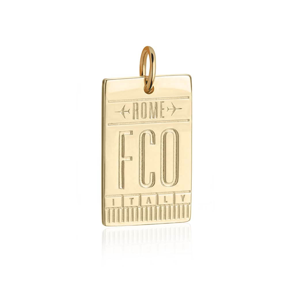 Gold Rome Charm, FCO Luggage Tag - JET SET CANDY