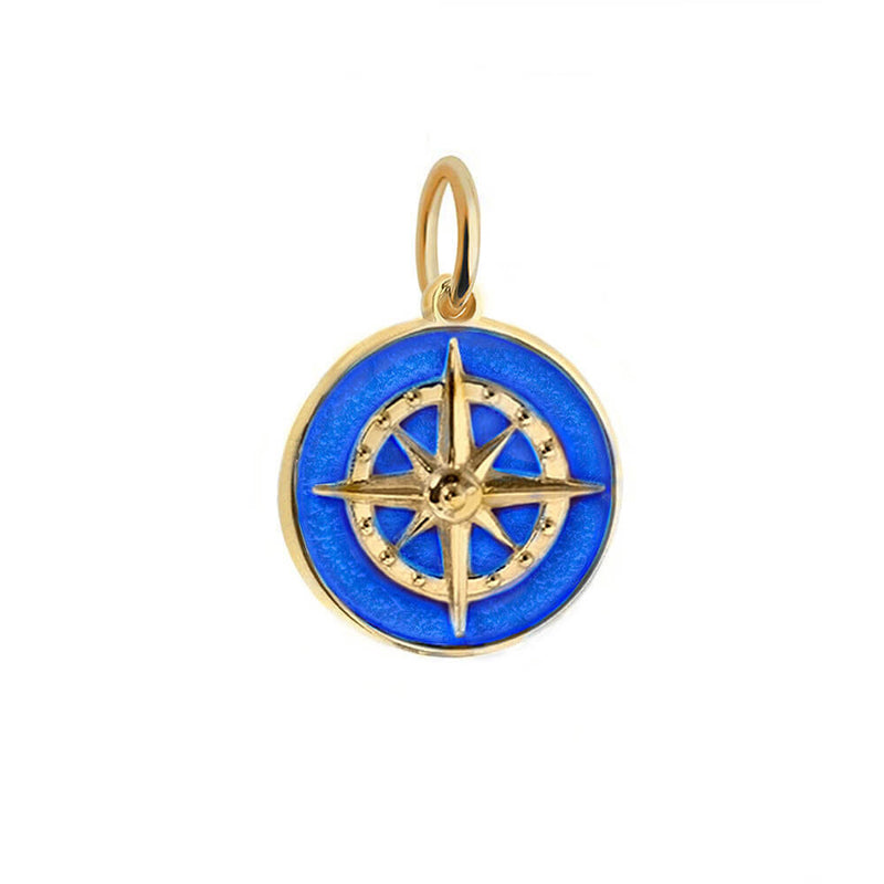 Large Gold Royal Blue Enamel Compass Charm (SHIPS JUNE) - JET SET CANDY