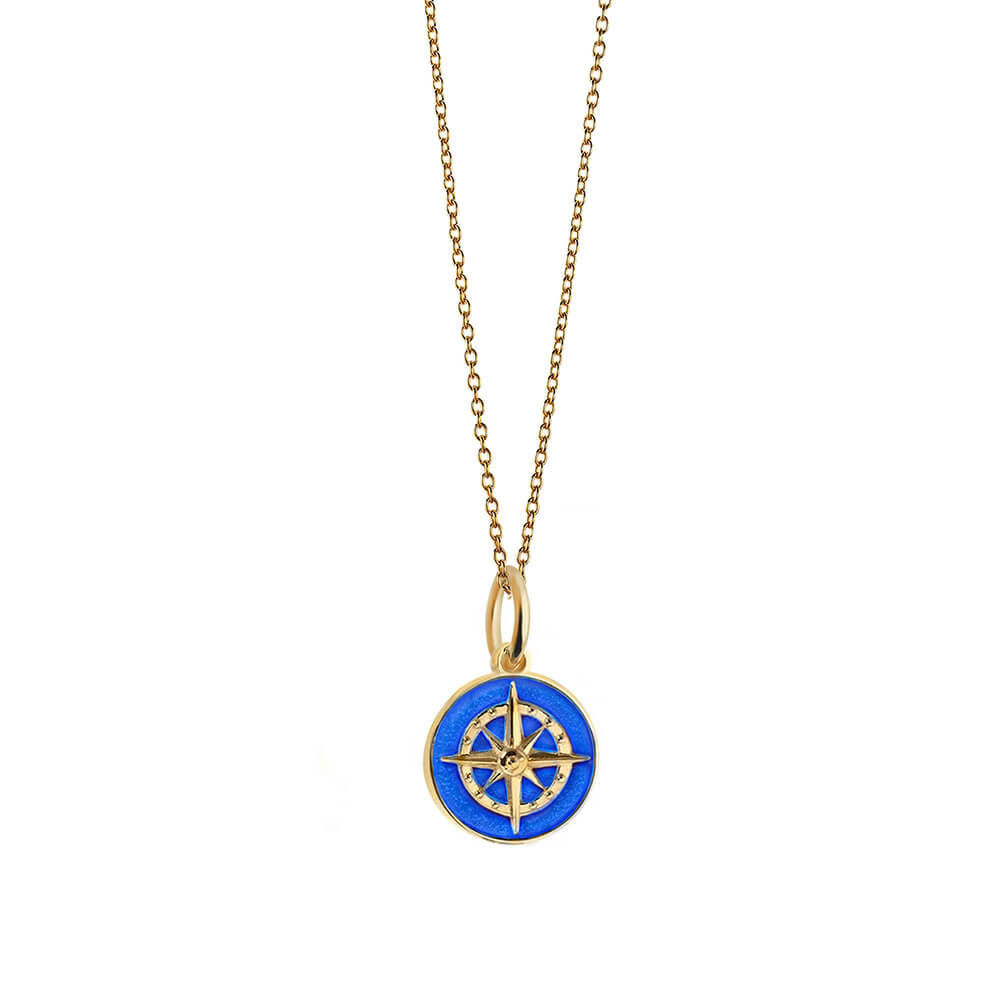 Gold Mini Royal Blue Enamel Compass Charm (SHIPS JUNE) - JET SET CANDY