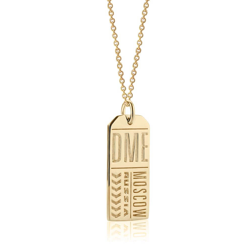 Gold Russia Charm, DME Moscow Luggage Tag - JET SET CANDY