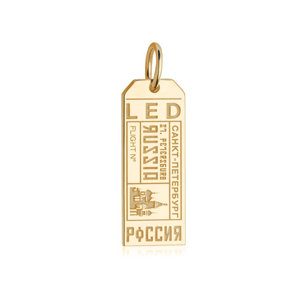Gold Vermeil Russia Charm, LED Saint Petersburg Luggage Tag - JET SET CANDY