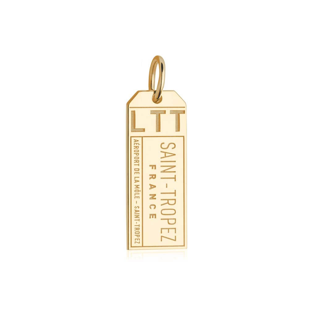 Gold Vermeil France Charm, LTT Saint Tropez Luggage Tag - JET SET CANDY