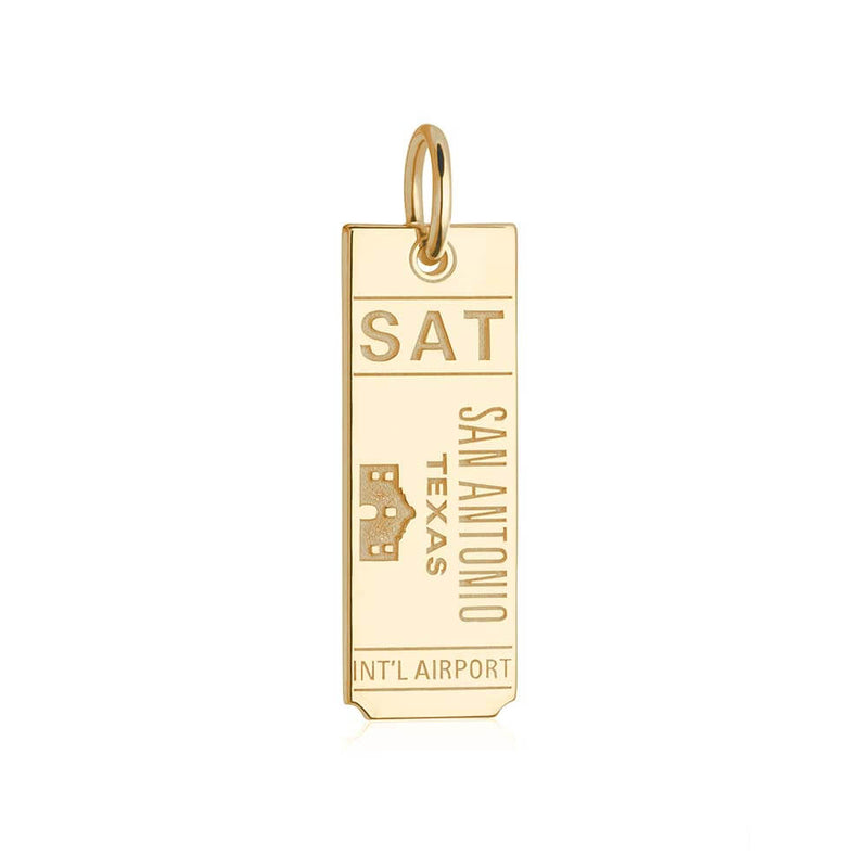 Gold Texas Charm, SAT San Antonio Luggage Tag - JET SET CANDY