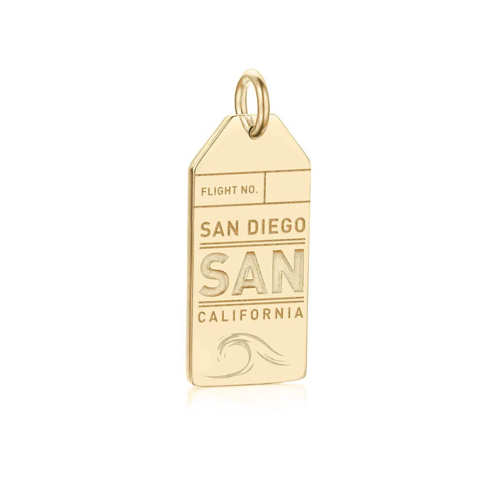 Gold California Charm, San Diego Luggage Tag - JET SET CANDY