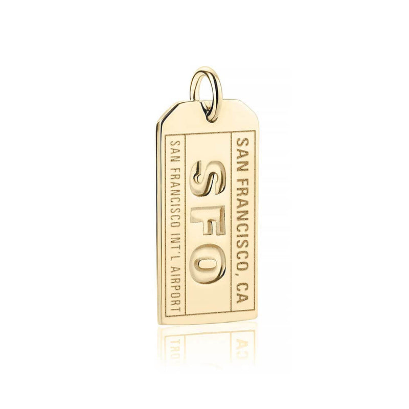 Gold San Francisco Charm, SFO Luggage Tag - JET SET CANDY