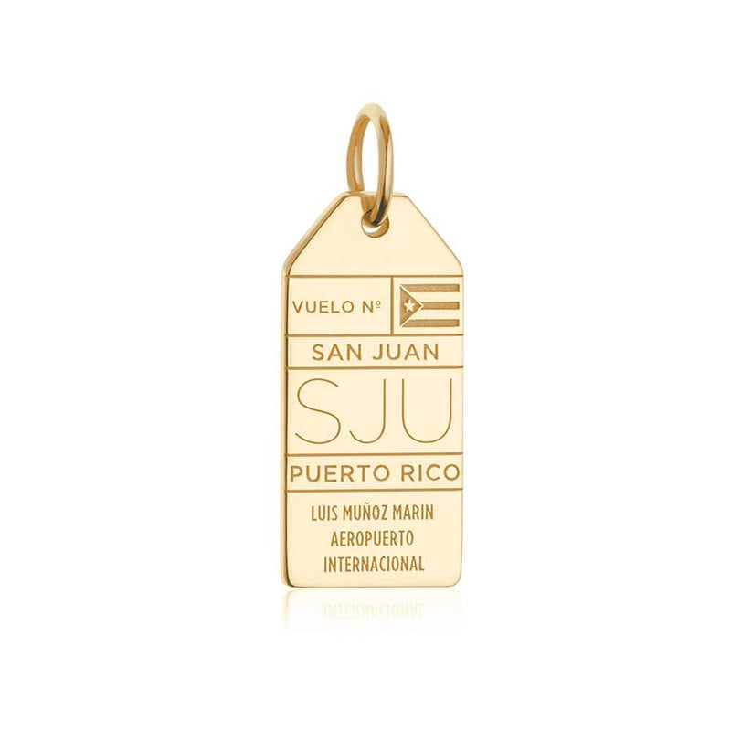Solid Gold San Juan, Puerto Rico SJU Luggage Tag Charm - JET SET CANDY