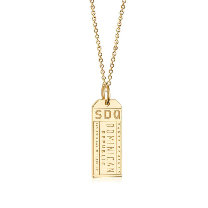 Solid Gold SDQ Santo Domingo DR Luggage Tag Charm - JET SET CANDY
