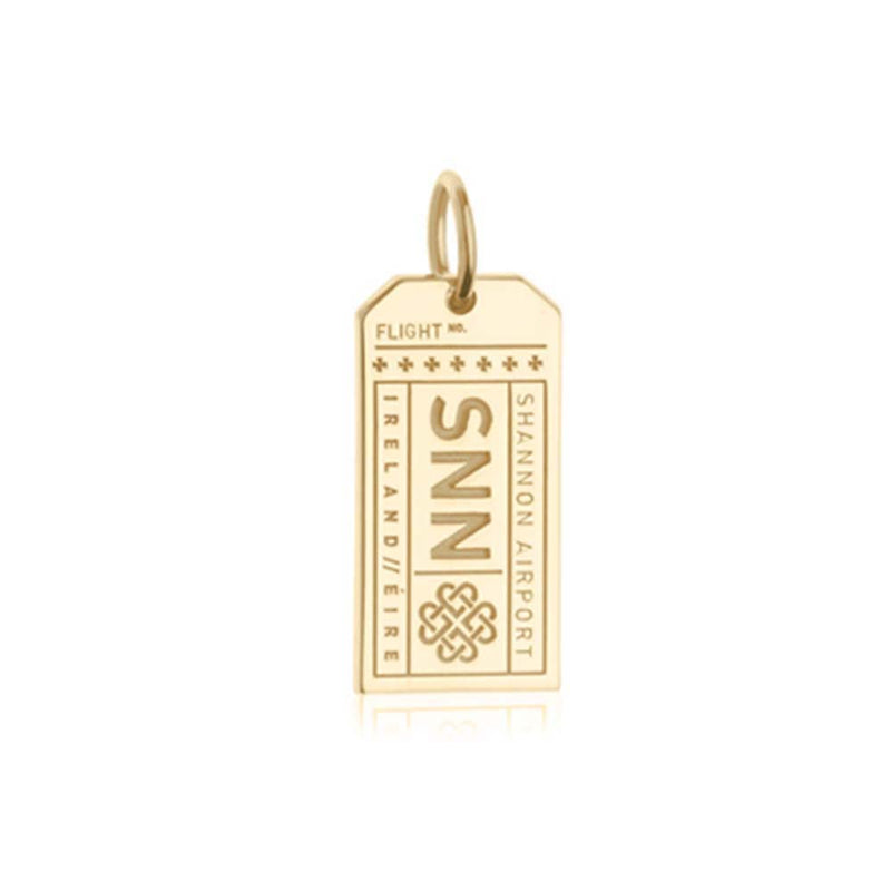 Gold Vermeil Ireland Charm, SNN Shannon Luggage Tag - JET SET CANDY