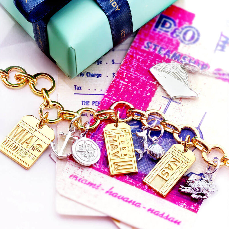 Gold Bahamas Charm, NAS Nassau Luggage Tag (SHIPS JUNE) - JET SET CANDY