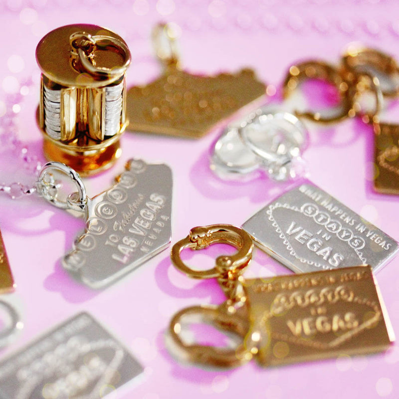 Gold Las Vegas Charm, Handcuffs - JET SET CANDY
