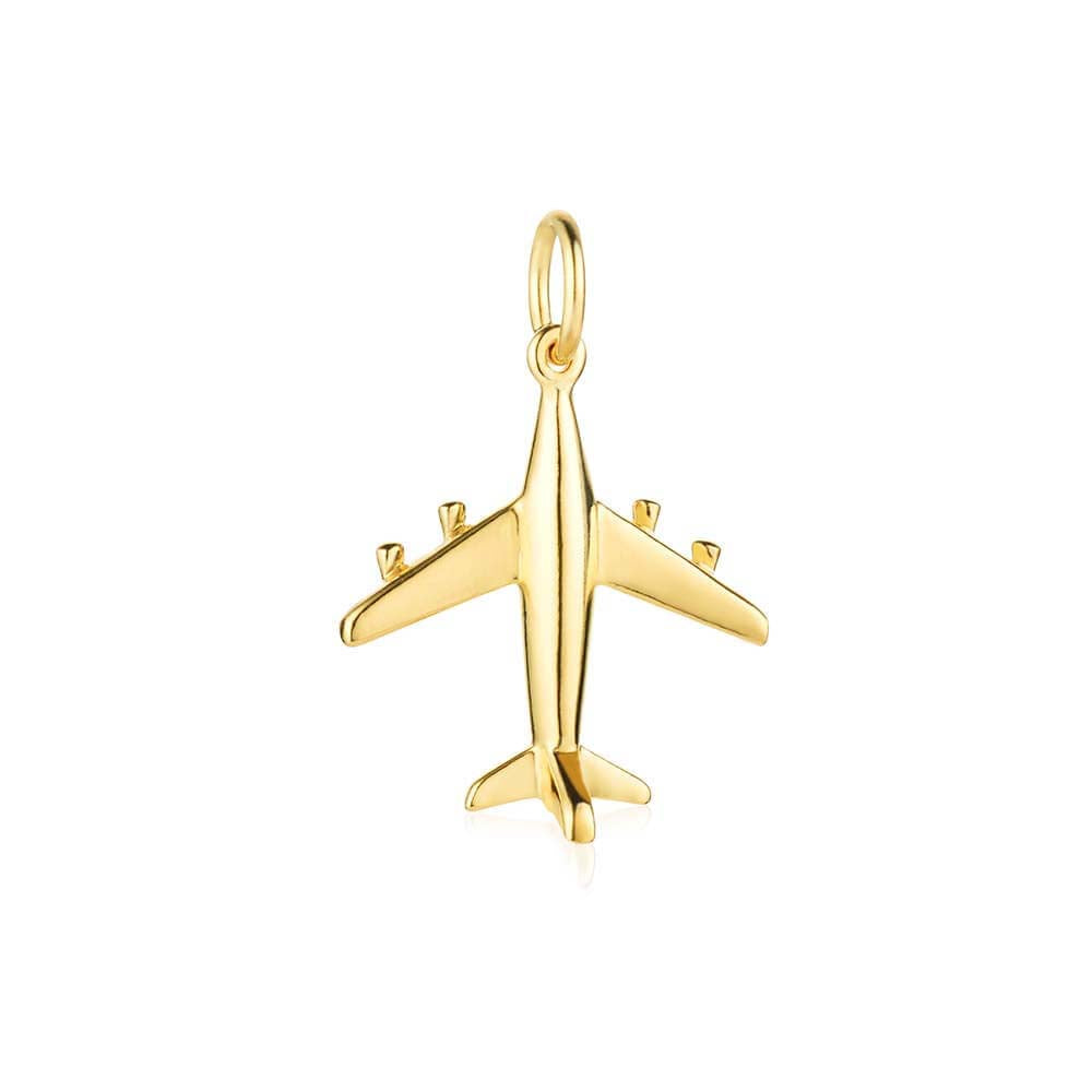 Gold Airplane Charm, Small - JET SET CANDY