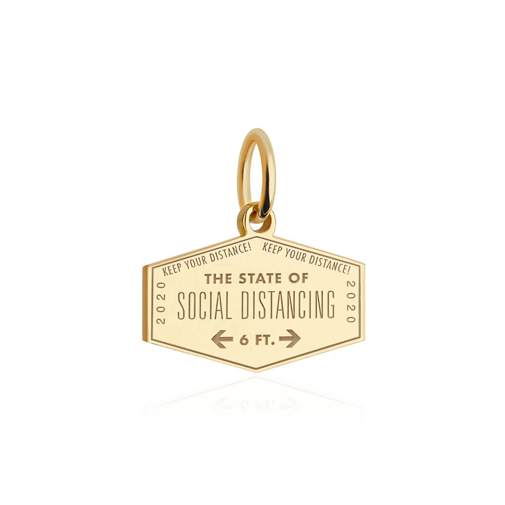 Gold Social Distancing Passport Stamp Charm