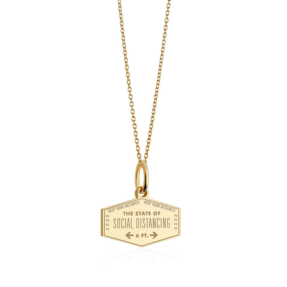 PRE ORDER: Solid Gold Social Distancing Passport Stamp Charm (Allow 8 weeks)