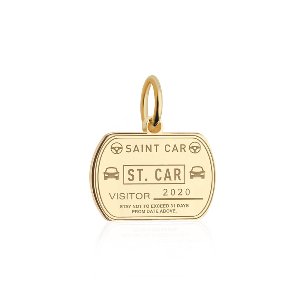 PRE ORDER: Solid Gold Car Passport Stamp Charm (Allow 8 weeks)