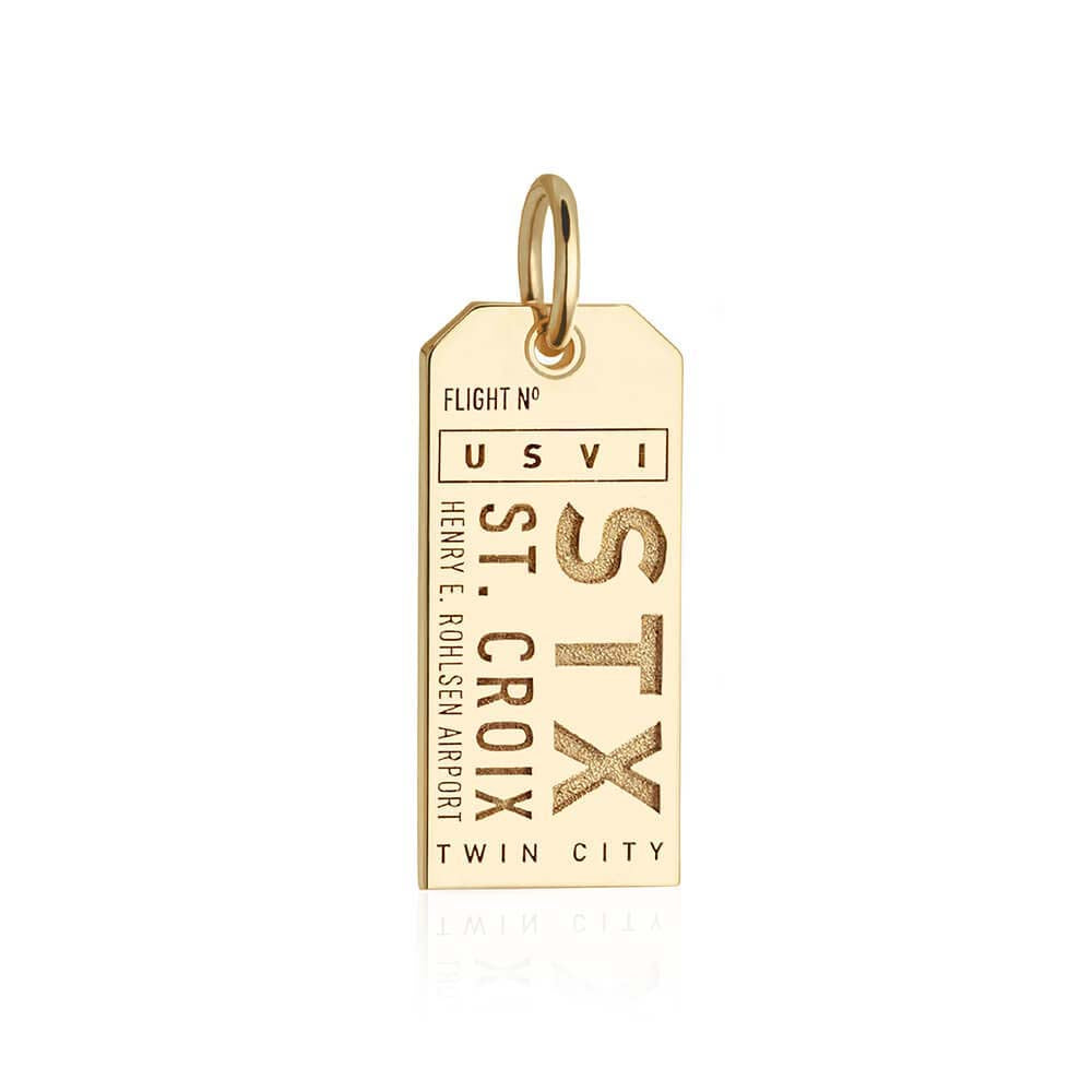 Gold Caribbean Charm, STX St. Croix Luggage Tag - JET SET CANDY