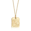 Gold Vermeil USA Charm, STL St. Louis Luggage Tag - JET SET CANDY