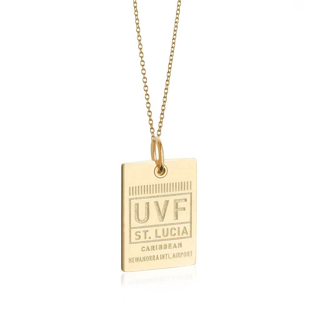 Gold St. Lucia Charm, UVF Luggage Tag - JET SET CANDY