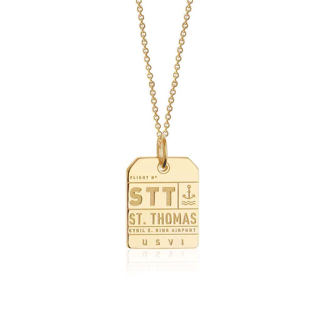 Gold Caribbean Charm, STT St. Thomas Luggage Tag - JET SET CANDY