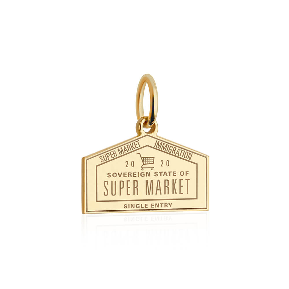 PRE ORDER: Solid Gold Supermarket Passport Stamp Charm (Allow 8 weeks)