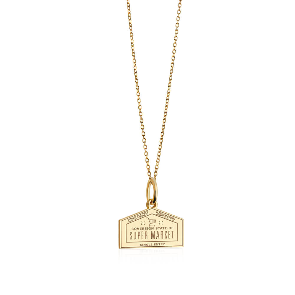 Gold Supermarket Passport Stamp Charm