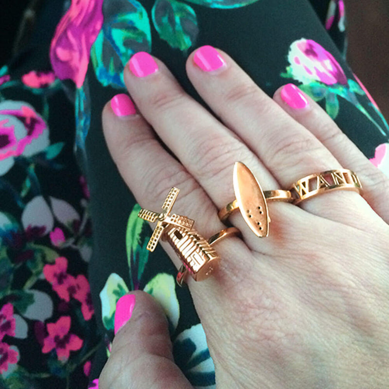 Gold Amsterdam Windmill Ring - JET SET CANDY
