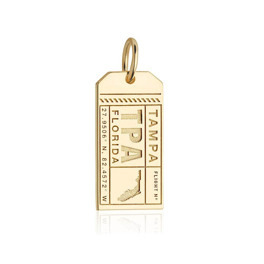 Gold Florida Charm, TPA Tampa Luggage Tag - JET SET CANDY