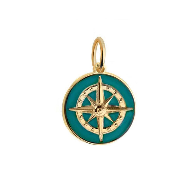 Large Gold Teal Enamel Compass Charm - JET SET CANDY
