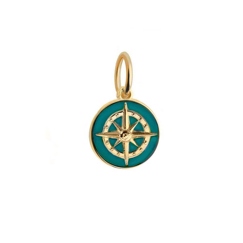 Gold Mini Teal Enamel Compass Charm - JET SET CANDY