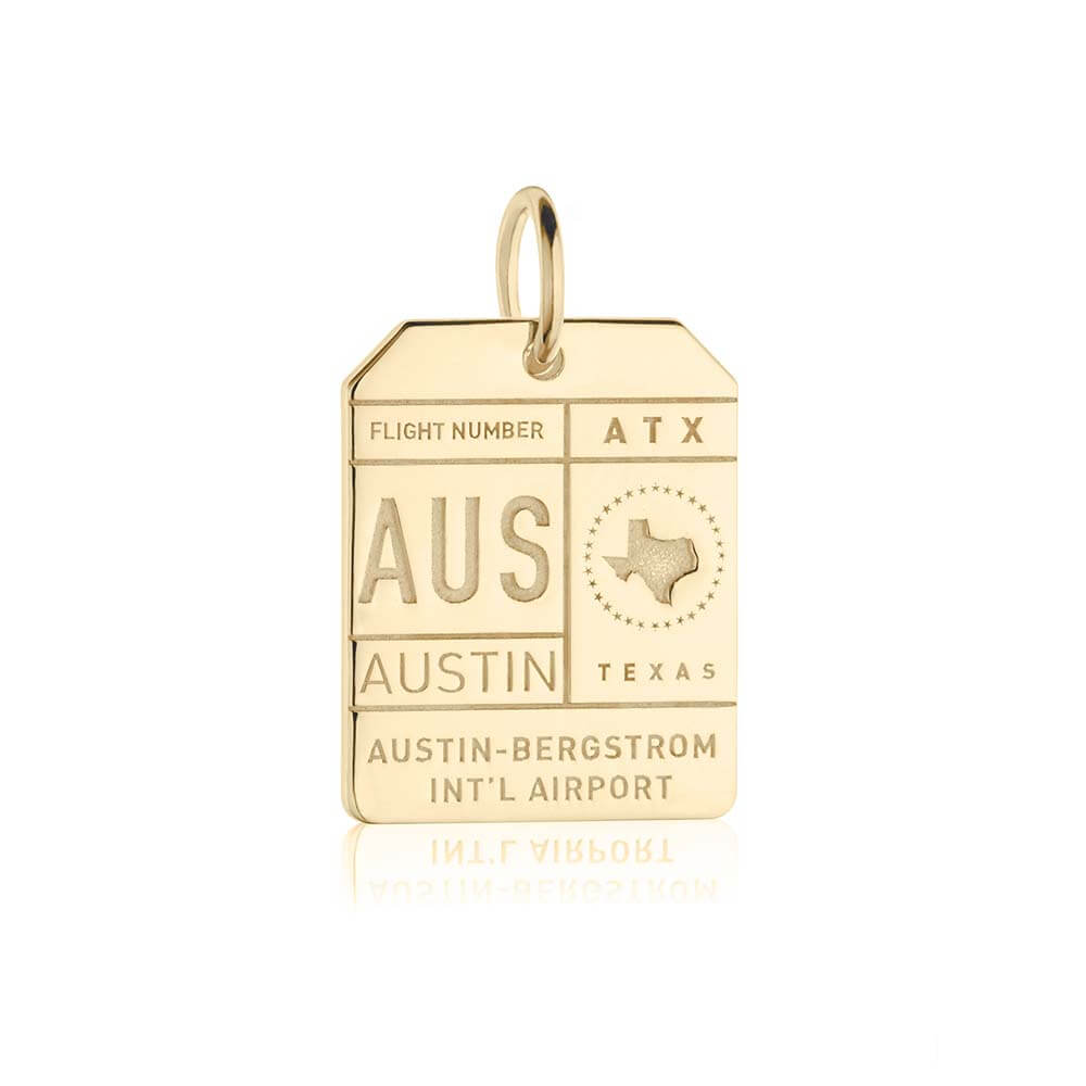Gold Texas Charm, AUS Austin Luggage Tag - JET SET CANDY