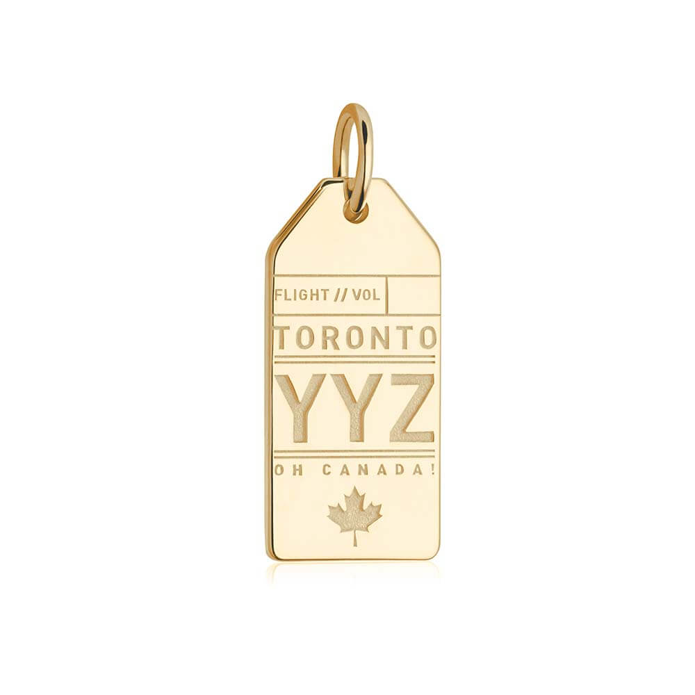 Gold Canada Charm, YYZ Toronto Luggage Tag - JET SET CANDY