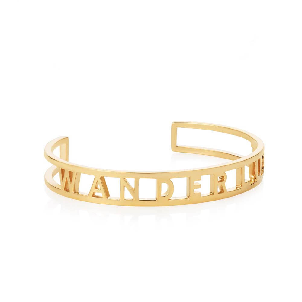 Gold Cutout Cuff Bracelet, Wanderlust (BACK ORDER-SHIPS LATE FEBRUARY) - JET SET CANDY