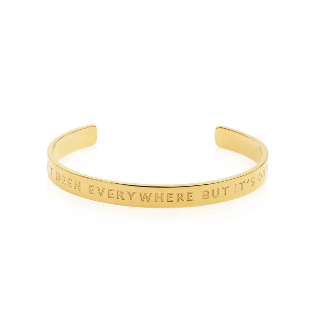 "Gold Inspirational Cuff ""I Haven't Been Everywhere But It's On My List"" - JET SET CANDY"