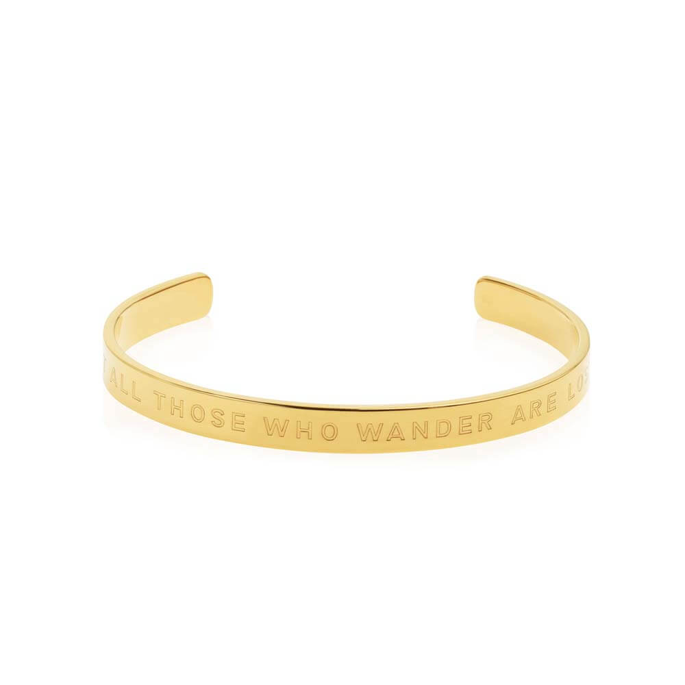 "Gold Inspirational Cuff Bracelet ""Not All Those Who Wander Are Lost"" - JET SET CANDY"