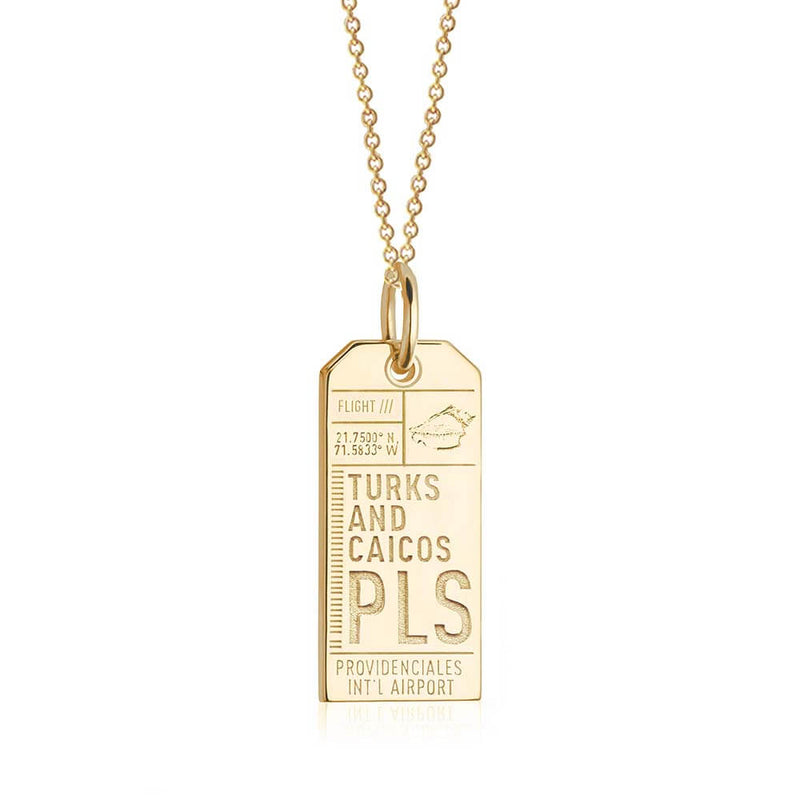 Gold Turks and Caicos Charm, PLS Luggage Tag - JET SET CANDY