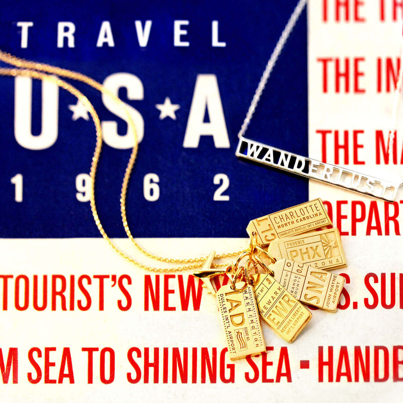 Gold USA Charm, CLT Charlotte Luggage Tag - JET SET CANDY