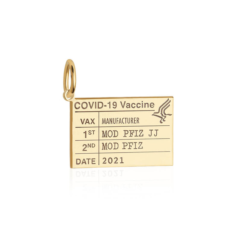 Solid Gold Gold Vaccine Card Charm (Allow 8 weeks)