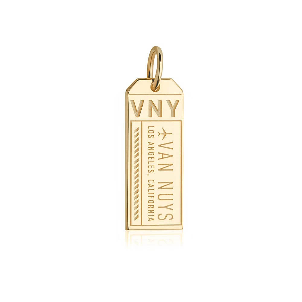 Gold California Charm, VNY Van Nuys Luggage Tag - JET SET CANDY