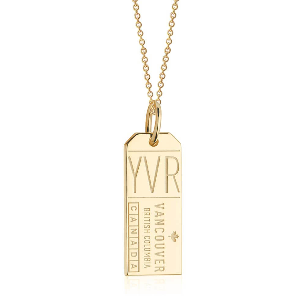 Gold Canada Charm, YVR Vancouver Luggage Tag - JET SET CANDY