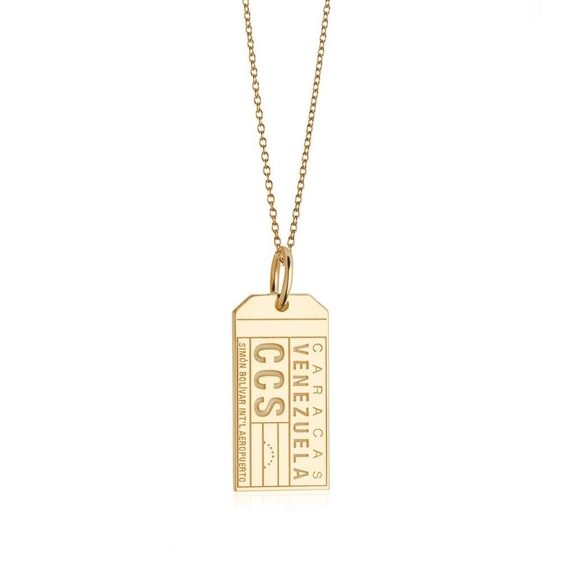 Gold Travel Charm, CCS Venezuela Luggage Tag - JET SET CANDY