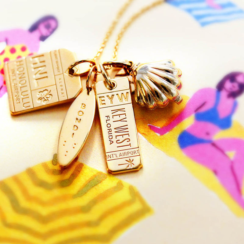 Gold Hawaii Charm, HNL Honolulu Luggage Tag - JET SET CANDY