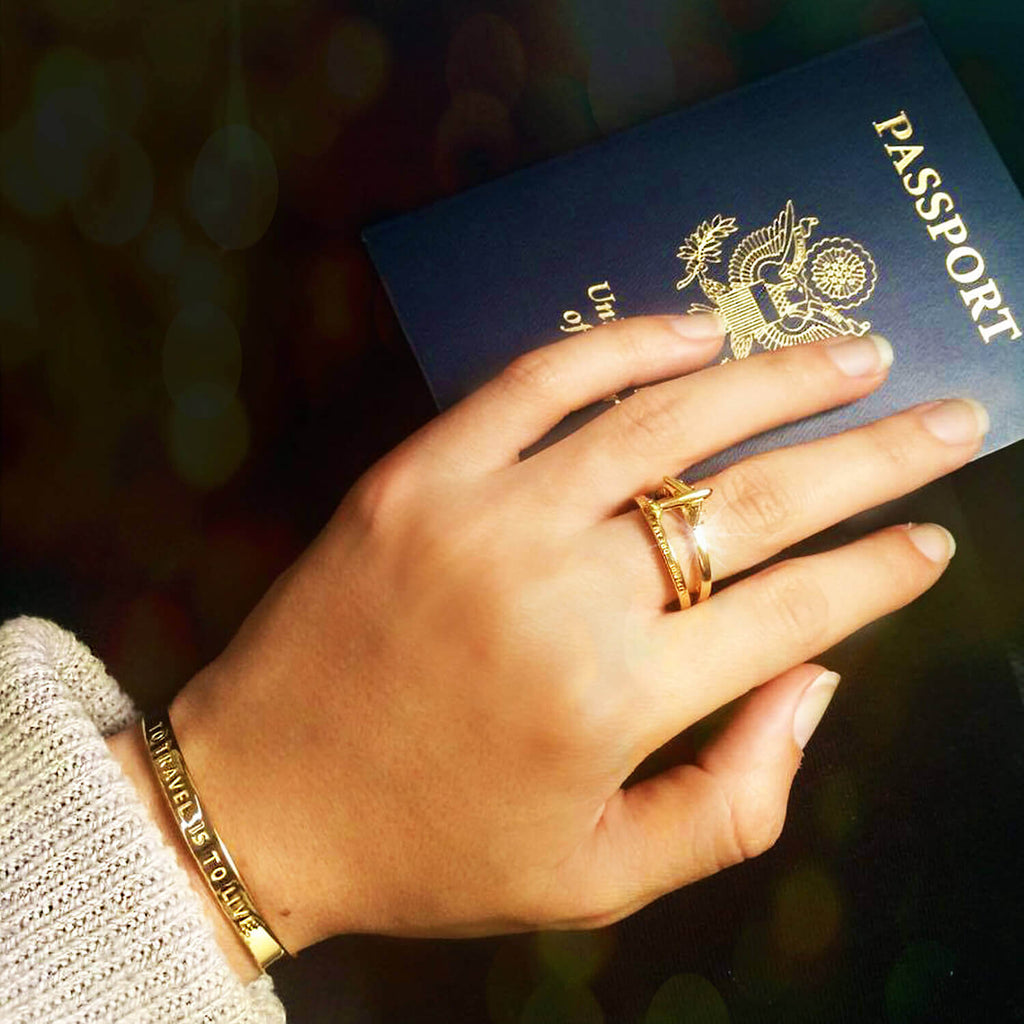 Gold Travel-Inspired Ring, Explore Dream Discover (SIZES 7.5, 8 & 9 SHIP LATE FEBRUARY) - JET SET CANDY