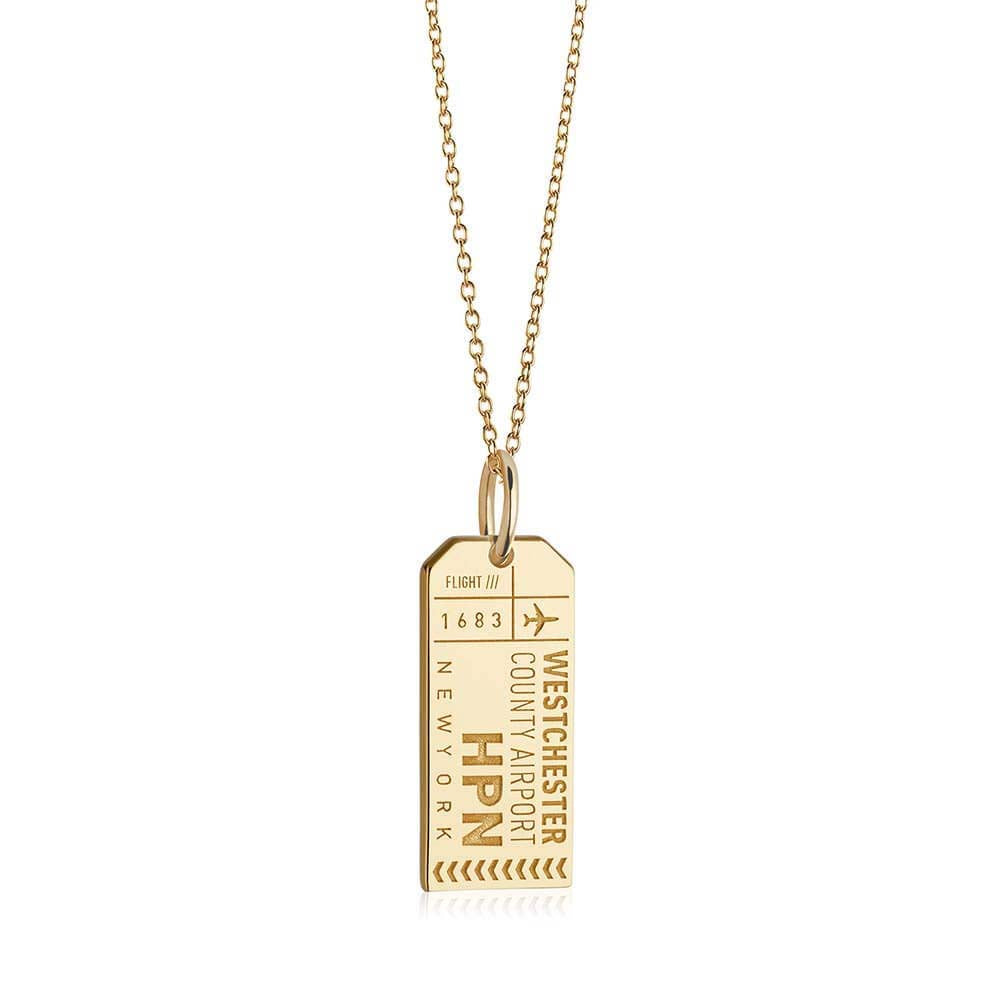 Gold New York Charm, HPN Westchester County Luggage Tag - JET SET CANDY