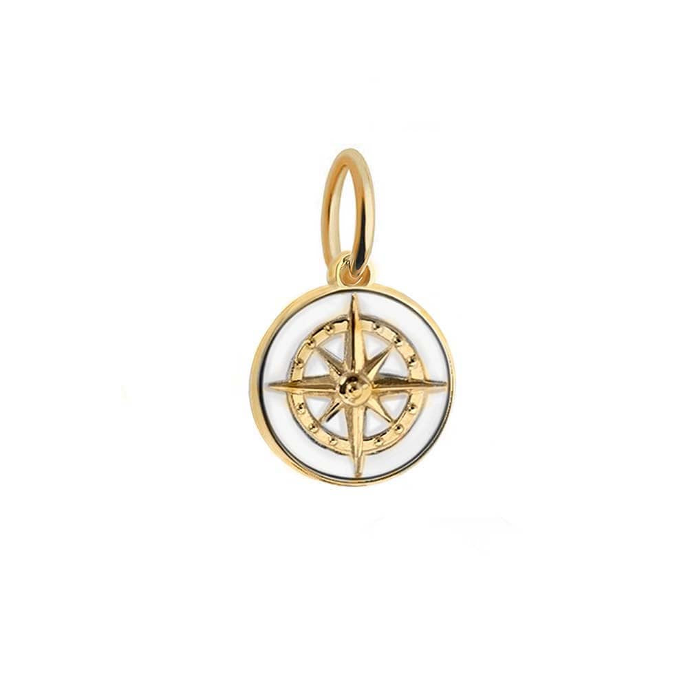 Gold Mini White Enamel Compass Charm - JET SET CANDY