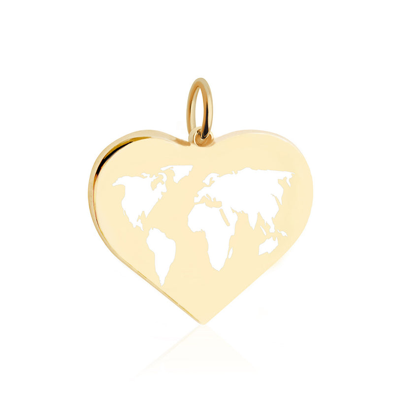 Large Gold World Heart Map Charm with White Enamel