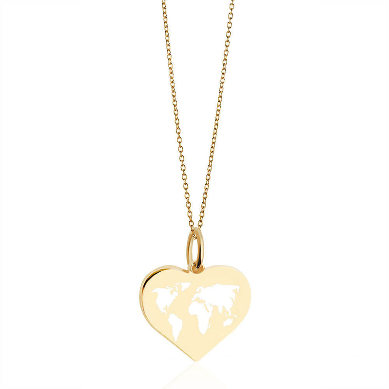 Medium Gold World Heart Map Charm with White Enamel