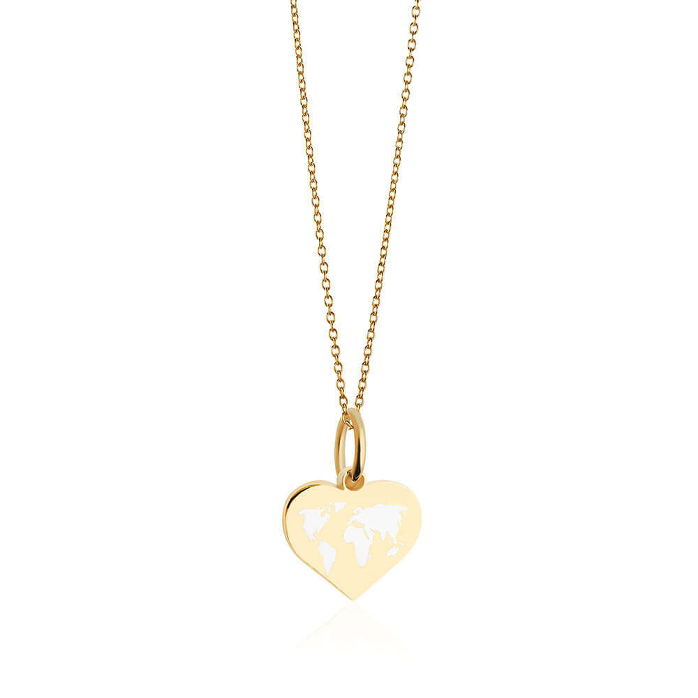 Mini Gold World Heart Map Charm with White Enamel (SHIPS EARLY FEB.)